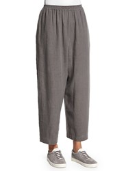 Eskandar Wide Leg Linen Japanese Ankle Trousers Elephant