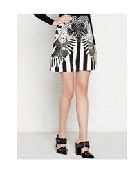 Just Cavalli Stripe And Print Skirt Black White
