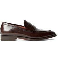 Santoni Polished Leather Penny Loafers Brown
