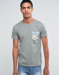 Esprit Crew Neck T Shirt With Mountain Printed Pocket Grey