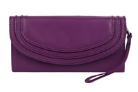 Dents Ladies Flap Over Purse With Handle Violet