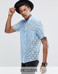 Reclaimed Vintage Lace Shirt With Raw Cut Sleeves Blue