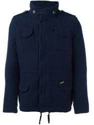 Bark Knitted Shirt Jacket Blue