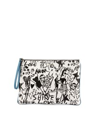 Lanvin Silhouette Print Leather Zip Pouch White Black Black White