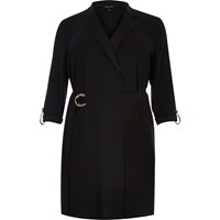 River Island Womens Ri Plus Black Tux Shirt Dress
