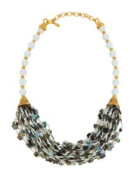 Jose And Maria Barrera Golden Multi Strand Abalone And Glass Bead Necklace Women's