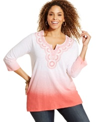 Jm Collection Woman Jm Collection Plus Size Embroidered Ombre Tunic Gypsy Coral
