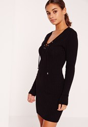 Missguided Lace Up Plunge Knitted Mini Dress Black Black