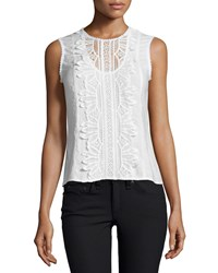 Nanette Lepore Sleeveless Lace Applique Top White Size 0