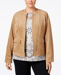 Charter Club Plus Size Open Front Faux Suede Jacket Only At Macy's Burnt Russet