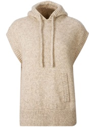 Astraet Short Sleeve Hooded Sweater Brown