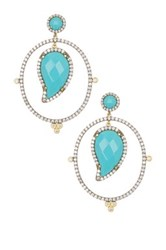 Freida Rothman 14K Gold And Rhodium Plated Sterling Silver Cz Paisley Turquoise Drop Earrings Metallic