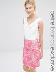 Paper Dolls Petite V Neck Pencil Dress With Contrast Lace Skirt Detail Pink
