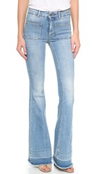 Stella Mccartney 70S Flare Jeans With Patch Pockets Light Blue