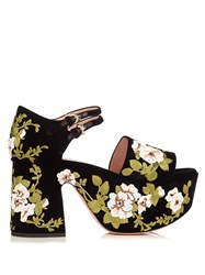 Rochas Floral Embroidered Velvet Platform Sandals Black Multi