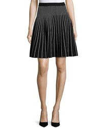 Carmen By Carmen Marc Valvo Ottoman Striped Knit Skirt Black White