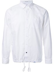 Bedwin And The Heartbreakers Drawstring Button Down Shirt White