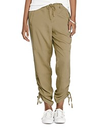 Ralph Lauren Ruched Drawstring Cuff Pants Cliff Tan