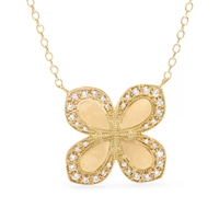 Jamie Wolf 18Kt Yellow Gold Flower Pendant Necklace With White Diamonds