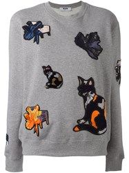 Msgm Applique Sweatshirt Grey