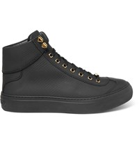 Jimmy Choo Argyle Textured Leather High Top Sneakers Black