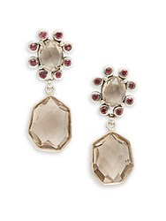 Stephen Dweck Verona Smoky Quartz Rhodolite Garnet And Sterling Silver Drop Earrings