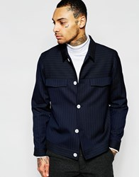 Asos Smart Harrington In Pinstripe With Contrast Buttons Navy