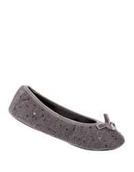 Isotoner Holiday Sequined Knit Ballet Flats Ash