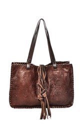 Carla Mancini Signature Whipstitched Leather Tote Brown