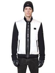 Paul And Shark Wool Knit Quilted Nylon Bomber Jacket