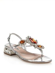 Miu Miu Jeweled Metallic Leather Thong Sandals Silver