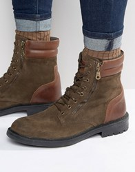 Walk London Stepney Suede Lace Up Boots Green