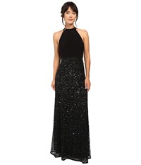 Adrianna Papell Halter Jersey And Beaded Gown Black Women's Dress