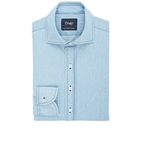 Drakes Chambray Dress Shirt Blue