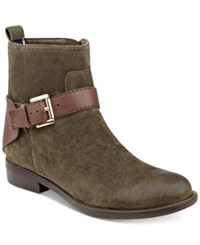 Tommy Hilfiger Safire Buckle Ankle Booties Women's Shoes Olive