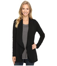 Mod O Doc Cotton Spandex French Terry Cardigan Black Women's Sweater