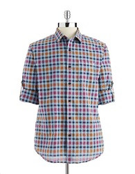 Tommy Bahama Checkered Button Down Soft Blue
