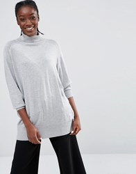 Monki Roll Neck Oversized Jumper Grey Melange