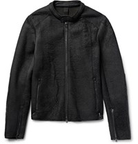 Isabel Benenato Wool Blend Panelled Textured Leather Jacket Black
