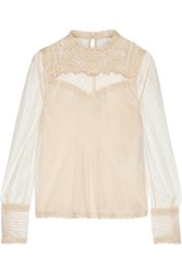 Red Valentino Redvalentino Embroidered Lace Trimmed Point D'esprit Tulle Top Ivory