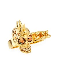 Skull And Chain Two Finger Ring Alexander Mcqueen Gold