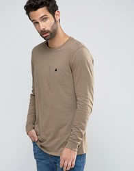 Asos Relaxed Longline Long Sleeve T Shirt With Logo In Brown Brown