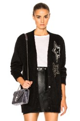 Saint Laurent Star Mohair Cardigan In Black