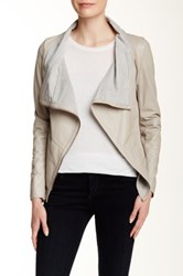 Muubaa Sabina Drape Genuine Leather Jacket Gray
