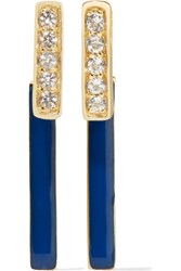 Elizabeth And James Arbus Gold Plated Topaz And Enamel Earrings Metallic
