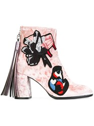 Msgm Chunky Heel Ankle Boots Pink And Purple