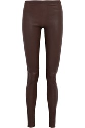 Rick Owens Stretch Leather And Cotton Blend Leggings Red
