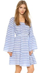 Lisa Marie Fernandez Short Peasant Stripe Dress Blue White Stripe