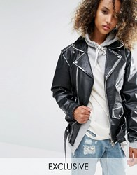 Milk It Vintage Oversized Leather Biker Jacket With Painted Seam Black