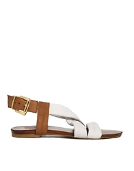 Bertie Junger White Leather Multi Strap Flat Sandals